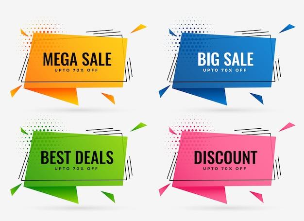 Ensemble de bannières géométriques discount et vente