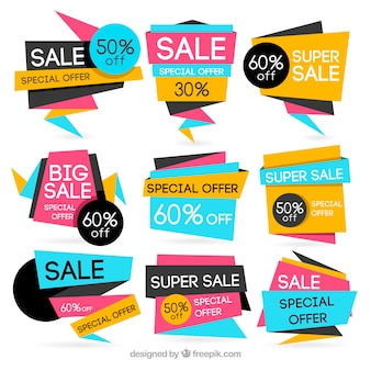 Ensemble de bannières géométriques de vente