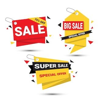 Ensemble de bannières grande vente offre spéciale modèle balises collection isolée