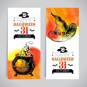 Ensemble de bannières d'halloween. affiche typographique. croquis dessinés à la main et illustrations vectorielles aquarelle