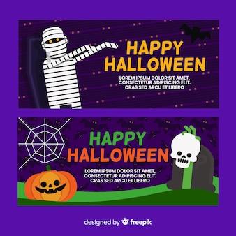 Ensemble de bannières d'halloween au design plat