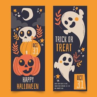 Ensemble de bannières halloween dessinés à la main
