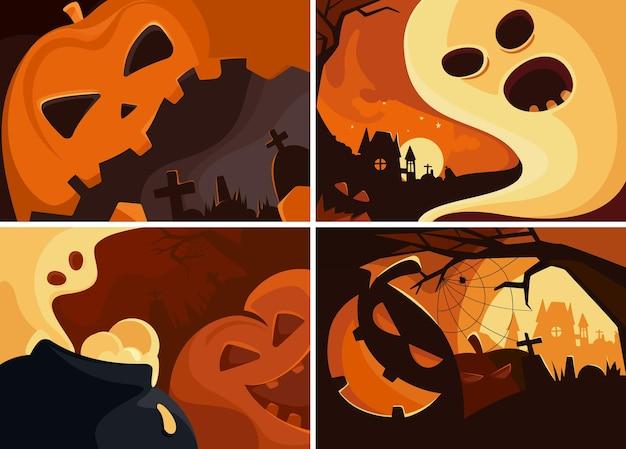 Ensemble de bannières d'halloween. différents modèles de pancartes.