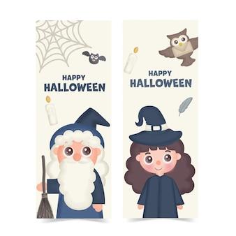 Ensemble de bannières d'halloween avec sorcière mignonne.