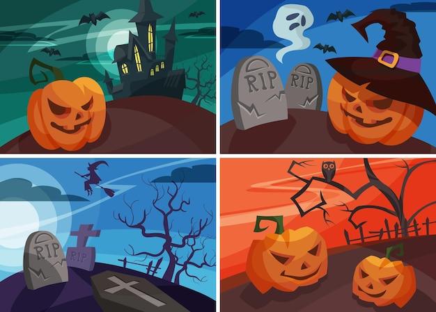Ensemble de bannières d'halloween en style cartoon. différents modèles de pancartes.
