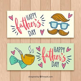 Ensemble de bannières heureux fête des pères dans un style dessiné à la main
