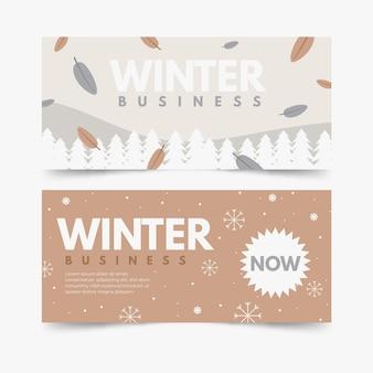 Ensemble de bannières d'hiver dessinés à la main