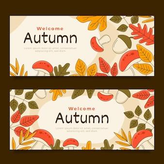 Ensemble de bannières horizontales automne dessinés à la main