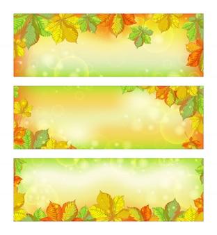 Ensemble de bannières horizontales automne avec les feuilles de châtaignier tombées.