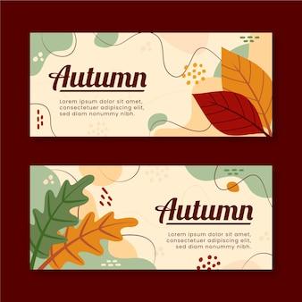Ensemble de bannières horizontales automne plat dessinés à la main