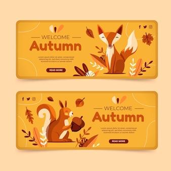 Ensemble de bannières horizontales automne plat