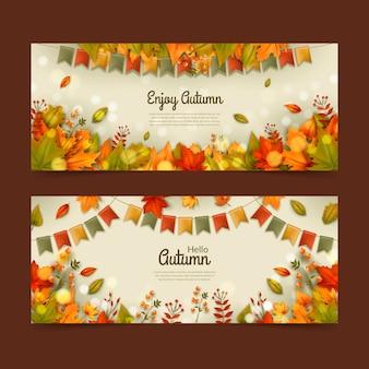 Ensemble de bannières horizontales automne réaliste