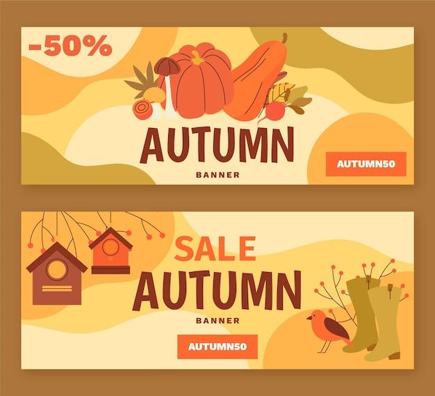 Ensemble de bannières horizontales d'automne
