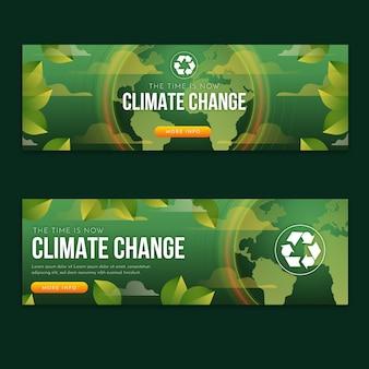 Ensemble de bannières horizontales de changement climatique dégradé