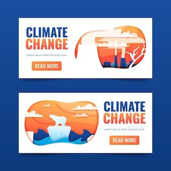 Ensemble de bannières horizontales sur le changement climatique de style papier