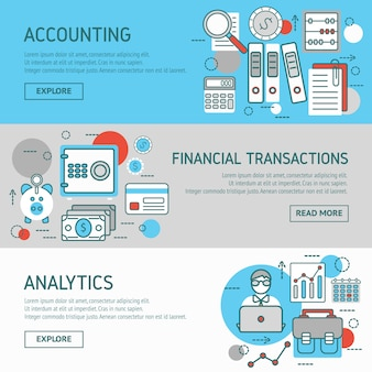 Ensemble de bannières horizontales de comptable