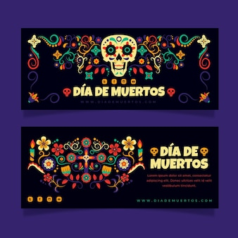 Ensemble de bannières horizontales dia de muertos dessinés à la main