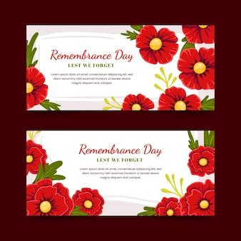 Ensemble de bannières horizontales du jour du souvenir plat dessinés à la main