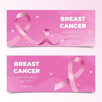 Ensemble de bannières horizontales du mois de sensibilisation au cancer du sein dégradé