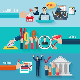 Ensemble de bannières horizontales élection