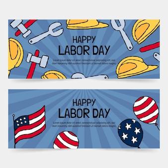 Ensemble de bannières horizontales de la fête du travail dessinés à la main