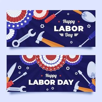 Ensemble de bannières horizontales de la fête du travail