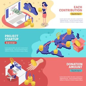 Ensemble de bannières horizontales de financement participatif