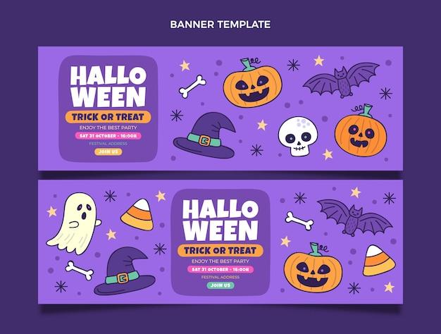 Ensemble de bannières horizontales halloween dessinés à la main