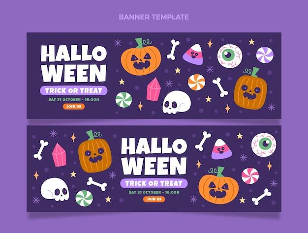 Ensemble de bannières horizontales halloween plat dessinés à la main