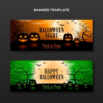 Ensemble de bannières horizontales halloween réalistes