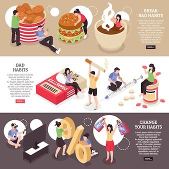 Ensemble de bannières horizontales isométriques tabagisme abus alimentaire et changement de drogue de mauvaises habitudes isolées