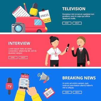 Ensemble de bannières horizontales de journalisme et de radiodiffusion