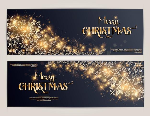 Ensemble de bannières horizontales joyeux noël et nouvel an.