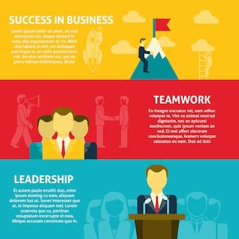 Ensemble de bannières horizontales de leadership