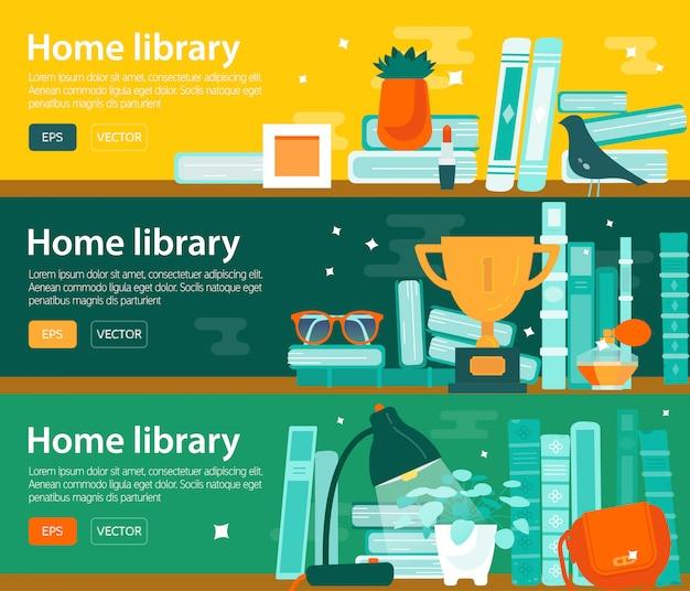 Ensemble de bannières horizontales de lecture intérêt de livre, bibliothèque.