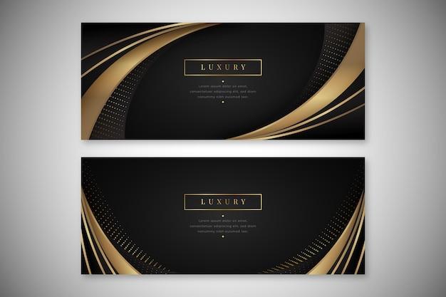 Ensemble de bannières horizontales de luxe doré réaliste
