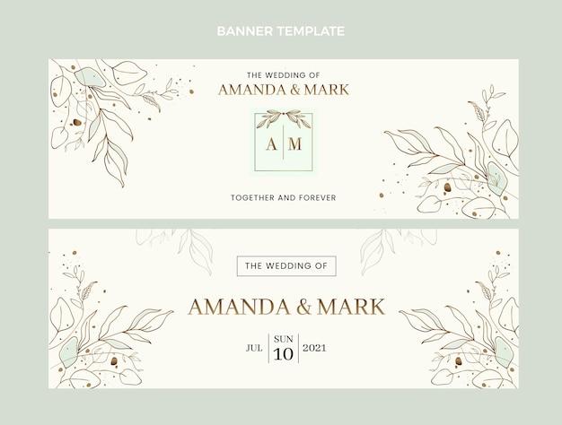 Ensemble de bannières horizontales de mariage dessinés à la main