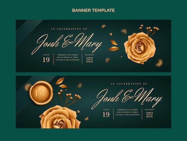 Ensemble de bannières horizontales de mariage doré de luxe réaliste