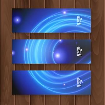 Ensemble de bannières horizontales, modèle web moderne avec des lignes de néon bleu, bannières
