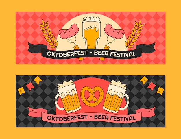 Ensemble de bannières horizontales oktoberfest dessinés à la main