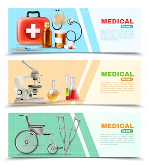 Ensemble de bannières horizontales plat médical de soins de santé