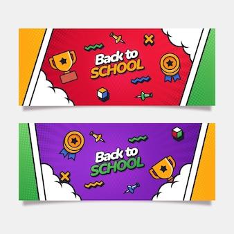 Ensemble de bannières horizontales à plat de retour à l'école