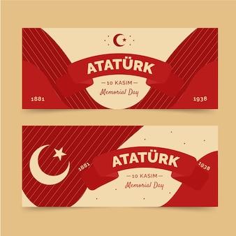 Ensemble de bannières horizontales pour le jour commémoratif d'ataturk