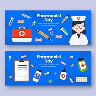 Ensemble de bannières horizontales pour le jour du pharmacien plat