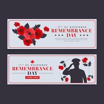 Ensemble de bannières horizontales pour le jour du souvenir