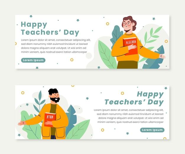 Ensemble de bannières horizontales pour la journée des enseignants à plat dessinés à la main