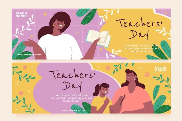 Ensemble de bannières horizontales pour la journée des enseignants à plat