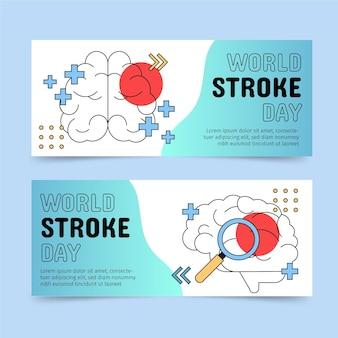 Ensemble de bannières horizontales pour la journée mondiale des accidents vasculaires cérébraux dessinés à la main