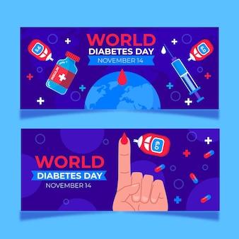 Ensemble de bannières horizontales pour la journée mondiale du diabète dessinés à la main