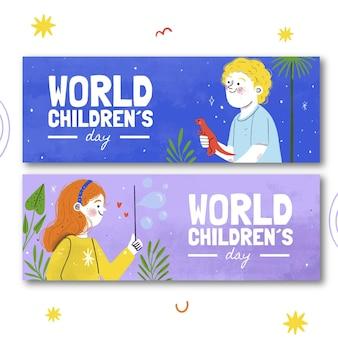 Ensemble de bannières horizontales pour la journée mondiale des enfants dessinés à la main